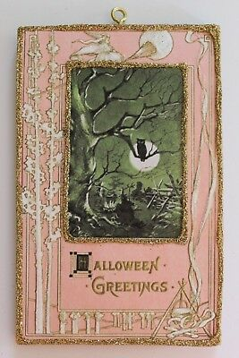 Night Scene Pink Book Cover * Halloween Ornament * Vtg Image * Glitter