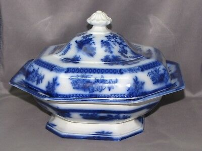 Wedgwood China Antique Flow Blue Pattern Chapoo John Wedge Wood, England 1847-60