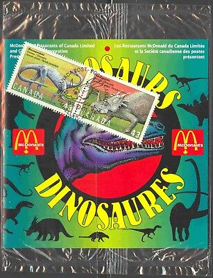 1993 Stamp Sponsorship Product McDonald's #1495-8 Canada Dinosaurs Folders (2)