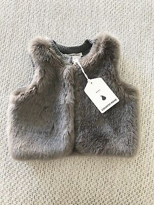 Baby Girls Country Road Reversible Knit Fur Vest BNWT Size 00