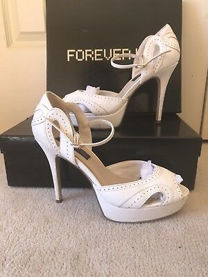 Forever Mew Jeels Size 40, 9 White Peeptoe Heels Wedding, Formal, Evening