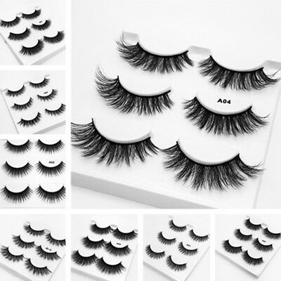 3 Pairs Natural Eye Lashes Handmade Makeup Thick Fake Cross False Eyelashes New