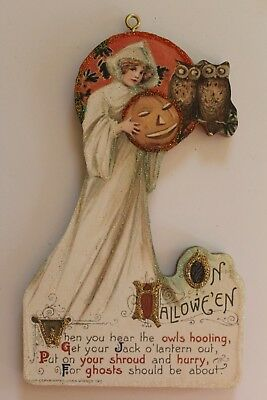 Witch in White w Owls * Halloween Ornament * Vtg. Card Image * Glitter