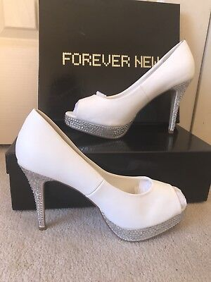 Forever New White Crystal Peeptoe Heels Size 40, 9 New, Wedding, Formal, Evening