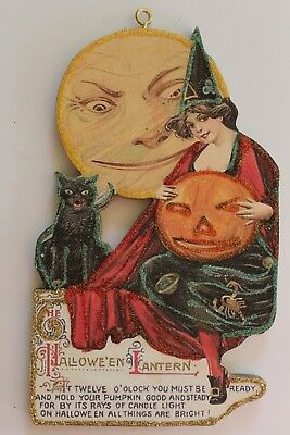 Witch w Black Cat & Harvest Moon* Halloween Ornament * Vtg. Card Image * Glitter