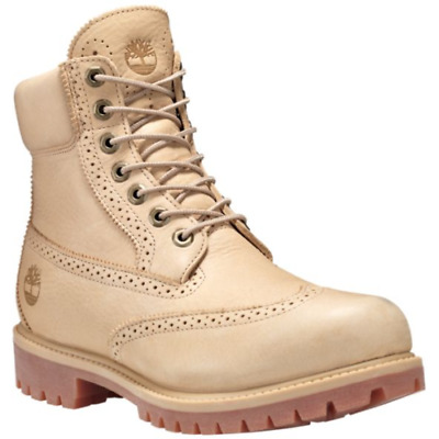 8bf23f17687a Timberland 6 Inch Premium Brogue Waterproof Boots Beige Sand A1GBS 8.5-10.5  Men