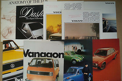 Volkswagen Volvo Audi Austin VW Sales Brochures 1970's 80's Lot of 13 Rabbit