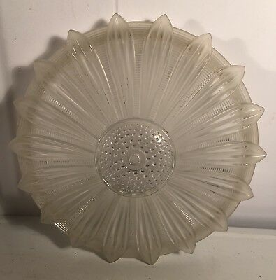 "Art Deco Ribbed Glass SUNFLOWER Frosted Petals Ceiling Light Fixture 14.5"" SHADE"