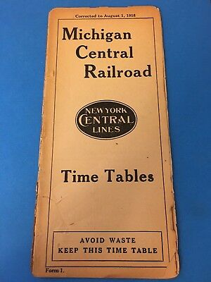 1918 Michigan Central Railroad (New York Central) Timetable Time Table rare NR!