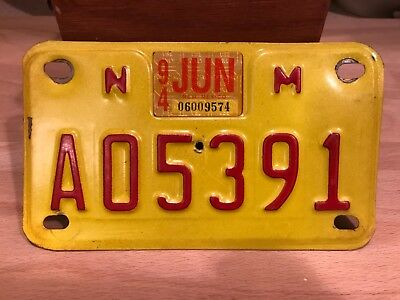 vintage  NEW MEXICO motorcycle license plate.