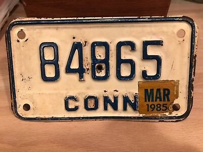 vintage Connecticut motorcycle license plate.