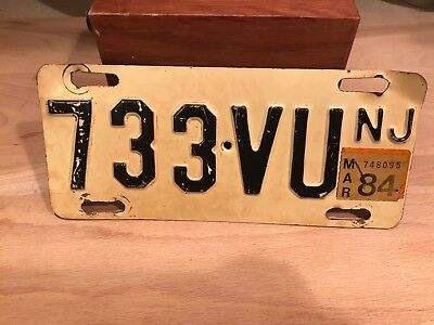 vintage  NEW JERSEY motorcycle license plate. STEEL