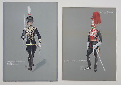 Military Uniforms - 2 orig. Jack Challenor gouaches, c.1918, Hussars and Lancers