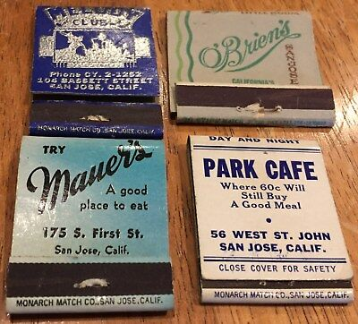 Vtg Matchbook Covers. Lot Of 8 San Jose, California