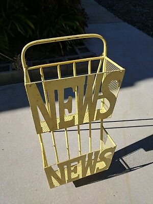 Vintage mid century Magazine Newspaper Stand Yellow Metal