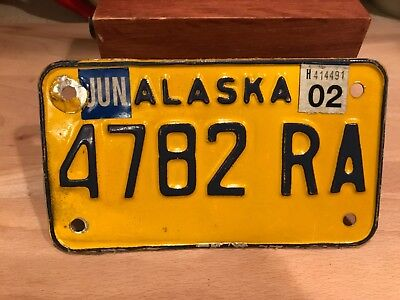 vintage ALASKA motorcycle license plate.