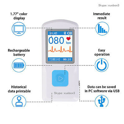Rechargable Portable ECG Monitor PM10 Bluetooth Mobile App ECG Detector, CONTEC