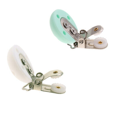 2Pcs Baby Colorful Pacifier Clips Wood Metal Dummy Clip Holders