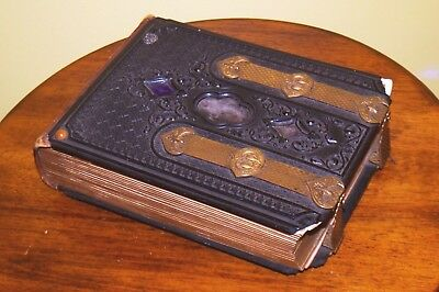Antique 1860's-1870's Gutta Percha Photo Album with 44 Cabinet Cards & Tintypes
