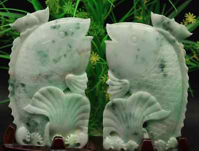 Certified Green Natural A Jade jadeite Statue Sculpture fish 鱼08007102
