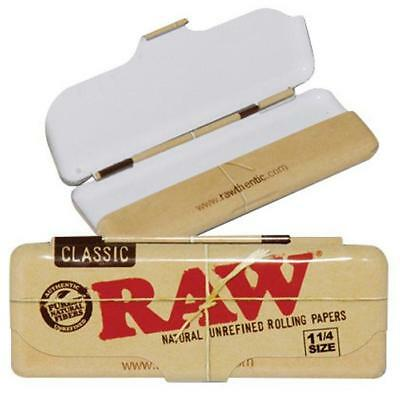2x AUTHENTIC RAW CLASSIC METAL PAPER TIN 1 1/4 ROLLING PAPERS