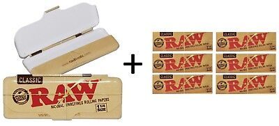 Authentic Raw Classic Metal Paper Tin 1 1/4 Rolling Papers + 6 Pk Classic Papers