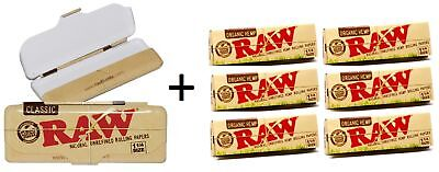 Authentic Raw Classic Metal Paper Tin 1 1/4 Rolling Papers + 6 Pk Organic Papers