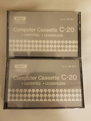 TRS-80 Tandy Computer Cassette C-20 Blank Computer Data Cat# 26-301 lot 2 sealed