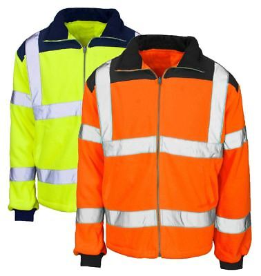 Hi Viz Visibility Zip Up Collar Coat Mens Adult Full Sleeve Work Wear Jacket