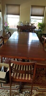 Beautiful Antique Mahogany Dining Table and Six Chairs, China Cabinet