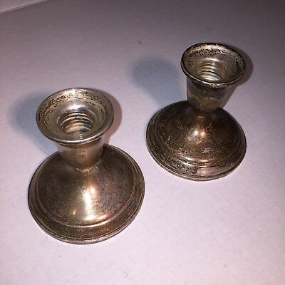 Antique TOWLE STERLING 701 PROFAX LINER WEIGHTED & REINFORCED TWO Candle Holders