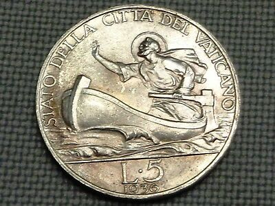Vatican 1936 Silver 5 Lire Saint Peter on Boat Storm Sea of Galile Pope Pius XI