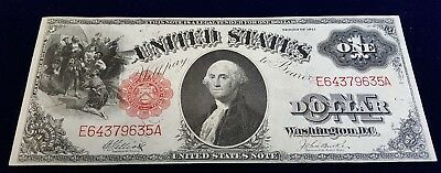 1917 $1 One Dollar United States Bank Note Legal Tender WASHINGTON Red ABOUT UNC