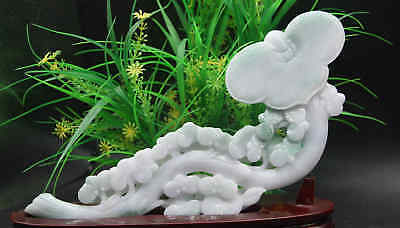 Certified Green Natural A Jade jadeite Statue Sculpture ruyi  如意 8174-1000