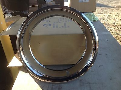"""4 Chevy 15"""" 15X8 Rally Wheel 3"""" Deep Trim Rings Stainless #3002"""