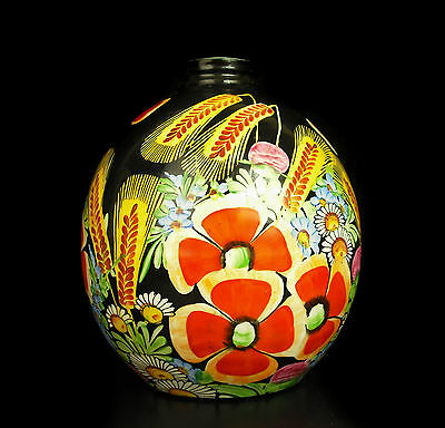 Wheat and Daisy Vase ball pattern floral colorful years 60's H : 18 cm
