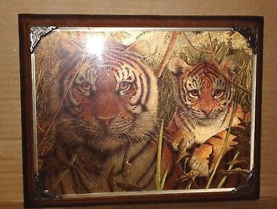 """Vintage Wall Plaque Bengal Tiger Picture Wood 7""""X9"""" Mother Cub Decor"""