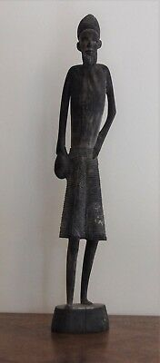 African Hand Carved Wooden Ethnographic Sculpture of Man Holding Club