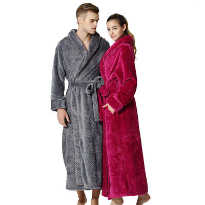 Mens Womens Supersoft Luxurious Coral Fleece Bath Robe Bathrobe Dressing Gown AU
