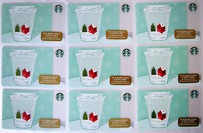 LOT OF 9 STARBUCKS 2017 Holiday SNOW GLOBE CUP Christmas Gift Cards