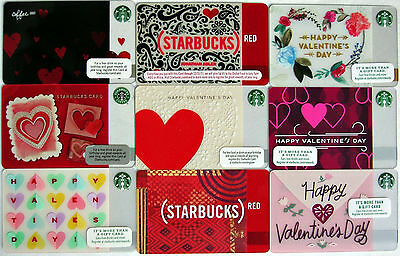 LOT OF 9 Starbucks NEW Gift Cards VALENTINES DAY Red ADLER TAPESTRY Paper HEARTs