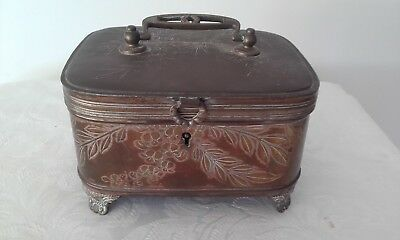 Antique footed metal money/receipt box circa 1900s
