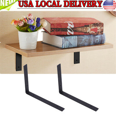 1 Pair Iron Wall Mounted Shelf Shelves Bracket L Shaped Support Heavy Duty DIY