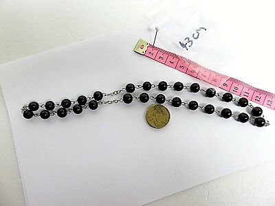 Beaded Chain Necklace  - 43cm length of  Black Beaded Chain Jewellery Bracelet