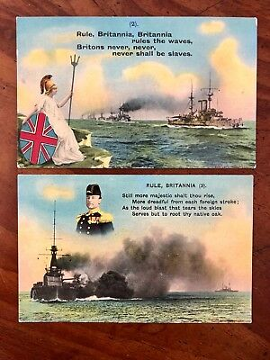 2 Rule Britannia Bamforth Song Cards 2 & 3 Lovely colour and condition