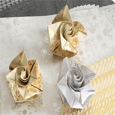 20pcs Japanese Style Floral Pattern Origami Craft Wish Paper Silver Gold 15*15cm