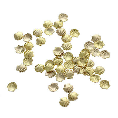 3X(50pcs Mini Alloy Shell Beads for Nail Art Decoration Craft Golden 3mm V7C6