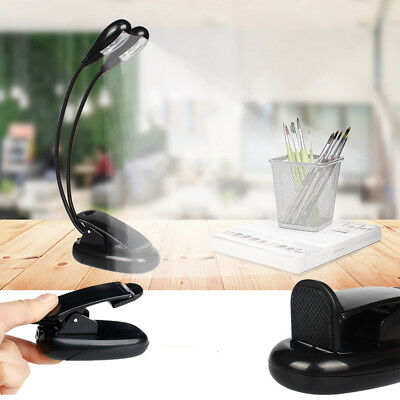 Portable Flexible Dual Arms 4 LED Clip-on Light Protect Eyes Reading Lamp