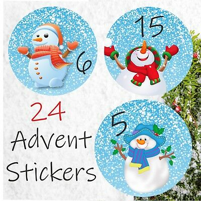 24 Advent Calendar Stickers Boys Or Girls Countdown To Christmas For