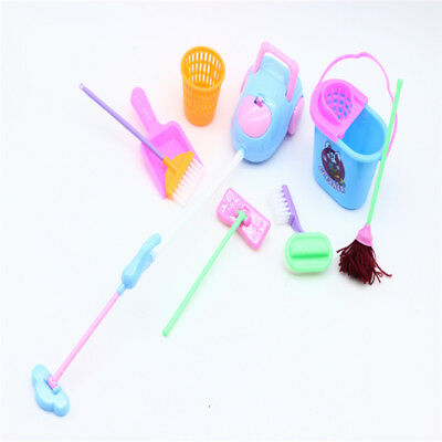 9pcs Cleaning Room Kits Mini Broom Color Random Cleaning Tools Doll Accessories